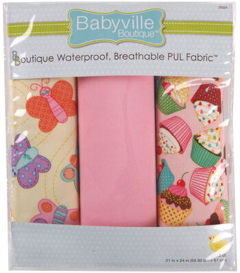 Babyville Sweet Stuff Waterproof Diaper Fabric Butterflies & Cupcakes