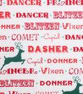Holiday Showcase™ Christmas Cotton Fabric 43\u0027\u0027-Santa\u0027s Reindeer on White