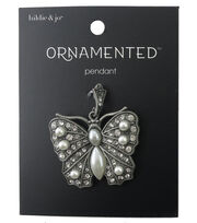 hildie & jo™ Ornamented Butterfly Antique Silver Pendant, , hi-res