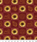 Harvest Cotton Fabric 43\u0022-Sunflower Patchwork