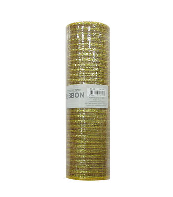 Decorative Ribbon Metallic Deco Mesh 10''x10 yds-Gold
