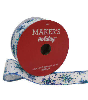 Maker's Holiday Christmas Ribbon 1.5''x30'-Ice Snowflake