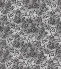 Vintage Cotton Fabric 43\u0027\u0027-Gray Floral & Lace