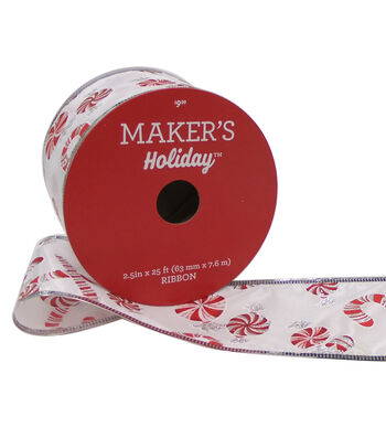 Maker's Holiday Christmas Ribbon 2.5''x25'-Peppermints on White