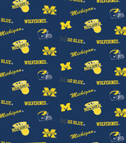 "University of Michigan Wolverines Cotton Fabric 44""-All Over, , hi-res"