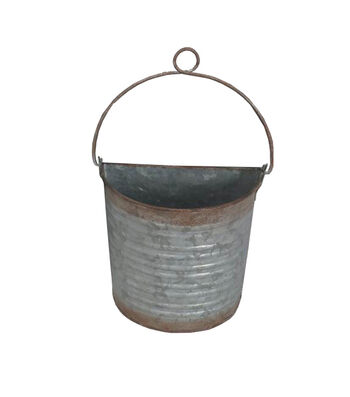Bloom Room Small Metal Wall Bucket with Wire Hanger