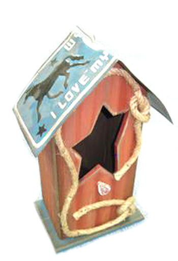 Wood Star Western Rope Birdhouse