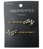 hildie & jo™ Ornamented 2 Pack Leaf Antique Gold Hair Pins-Pearl, , hi-res