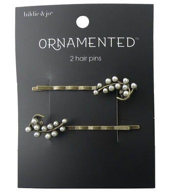 hildie & jo™ Ornamented 2 Pack Leaf Antique Gold Hair Pins-Pearl