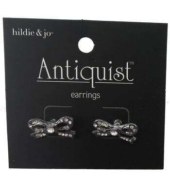 hildie & jo™ Antiquist Bow Silver Earrings-Clear Crystals