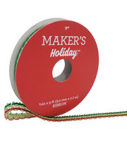 Maker's Holiday Christmas Ribbon 3/8''x9'-Green & Red Stripe, , hi-res