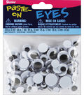 Paste-On Wiggle Eyes Assorted 5mm To 15mm 200 Pack-Black