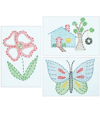 "White Stamped Beginner Embroidery Kit 6""X8"" Samplers 3/Pkg-Outside Fun"
