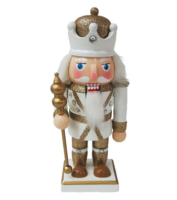 Maker's Holiday Christmas 9.25'' Nutcracker-Gold & White