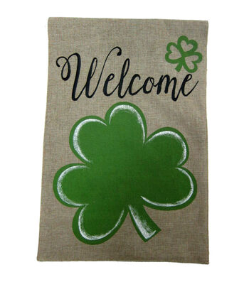 St. Patrick's Day Burlap Banner-Welcome & Shamrock