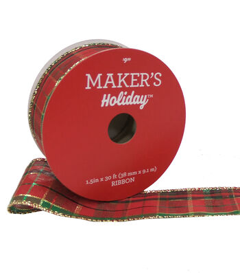 Maker's Holiday Christmas Ribbon 1.5''x30'-Gold, Red & Green Plaid