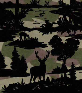 "Snuggle Flannel Fabric 42""-Camo Wilderness Scene"