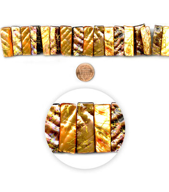"""Blue Moon Beads 7"""" Strand Shell Two-Hole rectangle Brown"""
