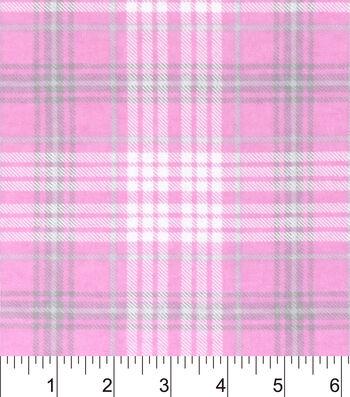 """Nursery Flannel Fabric 42""""-Madison Sweet Pink Plaid"""