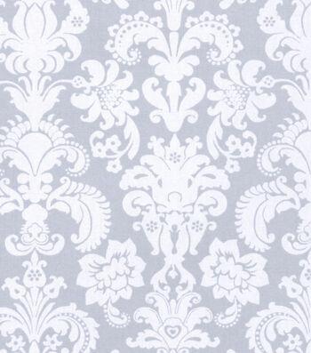 "Nursery Cotton Fabric 43""-Grey Damask"