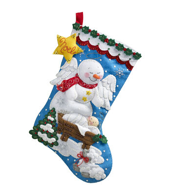 "Bucilla® 18"" Stocking Felt Applique Kit-Snow Angel"