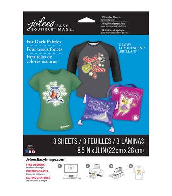 "Jolee's® Easy Image Transfer Sheets 8.5""X11"" Glow-In-The-Dark For Dark Fabrics"