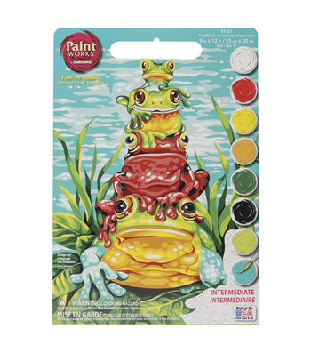 """Dimensions 9""""x12"""" Learn To Paint! Paint By Number Kit-Frog Pile-Up"""