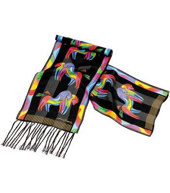 Laurel Burch Scarves-Rainbow Horses with Fringe