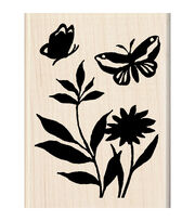 "Inkadinkado Mounted Rubber Stamp-Butterfly Flowers 2.25""X3"", , hi-res"