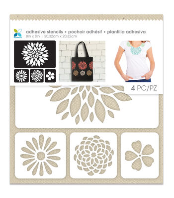 Momenta 4 Pack 8''x8'' Adhesive Fabric Stencil-Flowers