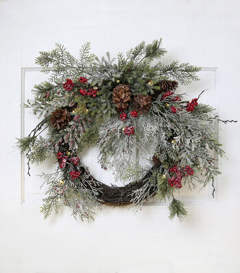 Blooming Holiday Frosted Berry, Pinecone & Pine Wreath with 10 Light