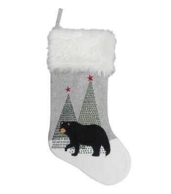 Maker's Holiday Christmas 19''x10.5'' Stocking-Black Bear