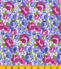 Made In America Cotton Fabric-Large Purple Bouquet