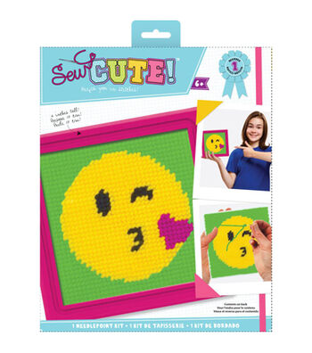 Sew Cute! Needlepoint Kit-Emoji Kiss