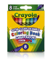 Crayola Coloring Book Large Washable Crayons-8PK, , hi-res
