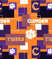 Clemson University Tigers Cotton Fabric 43''-Modern Block, , hi-res