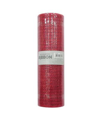 Decorative Ribbon Metallic Deco Mesh 10''x10 yds-Red