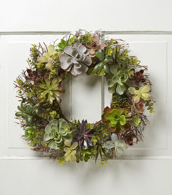 Bloom Room Succulent Mix & Spiral Twig Wreath