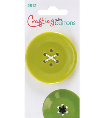 Crafting with Buttons Large 6 Hole Button-Lime