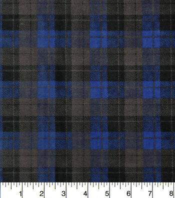 """Snuggle Flannel Fabric 42""""-Skylar Blue Black Plaid"""