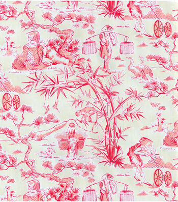 "Waverly Upholstery Fabric 54""-Haiku Toile/Azalea"