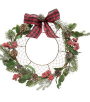 Blooming Holiday 20'' Pine, Pinecone, Berry & Ribbon Wire Wreath, , hi-res