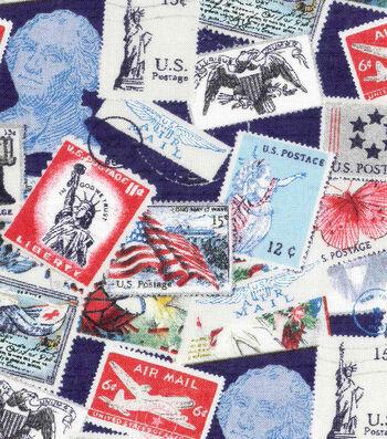 Patriotic Cotton Fabric 43''-Postage Stamps