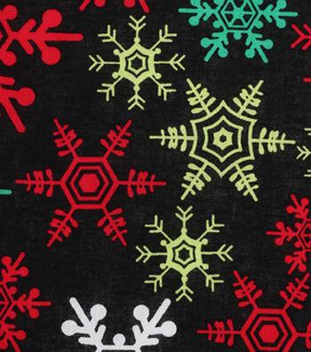 Holiday Showcase™ Christmas Cotton Fabric 43''-Snowflakes on Black