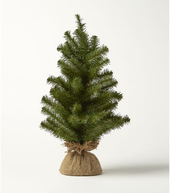 Blooming Holiday Christmas PVC Norway Spruce Pine & Burlap Tree-Green