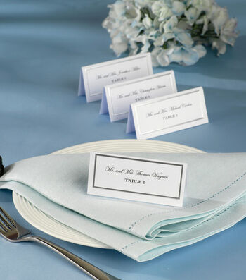 Wilton® 60ct Silver Border Placecards-White