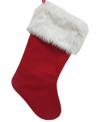 Maker's Holiday Christmas Velvet Stocking-Red & White
