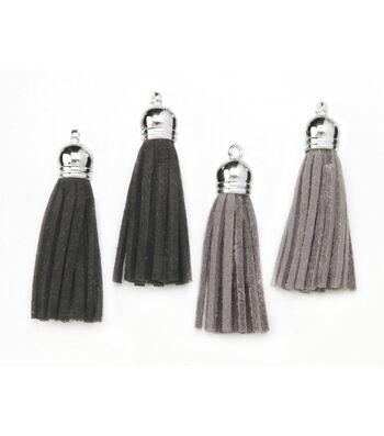 Darice® Black & Grey Silver Capped Suede Tassels 4pc