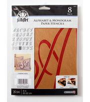 FolkArt® Alphabet & Monogram Paper Stencils - Script Font, 8 inch, , hi-res