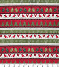 Christmas Cotton Fabric 43\u0022-Stitched Christmas Stripe